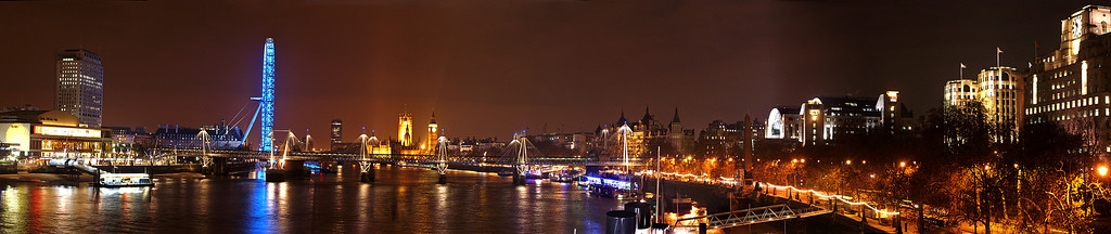 Nightly view of Westminster and the Thames